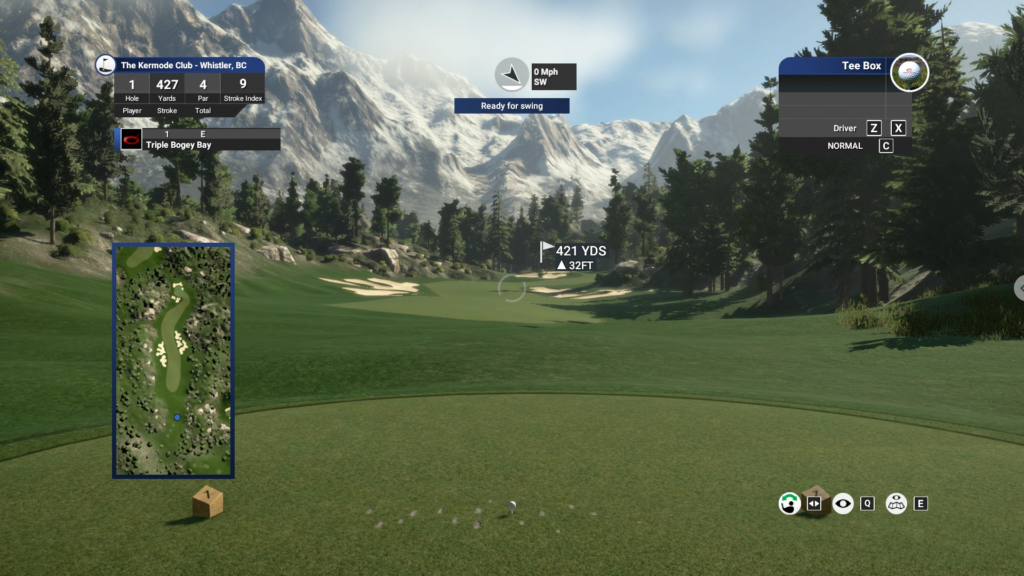 PGA Course the Kermode Club opening hole, as if you were standing on the tee box yourself waiting to tee off